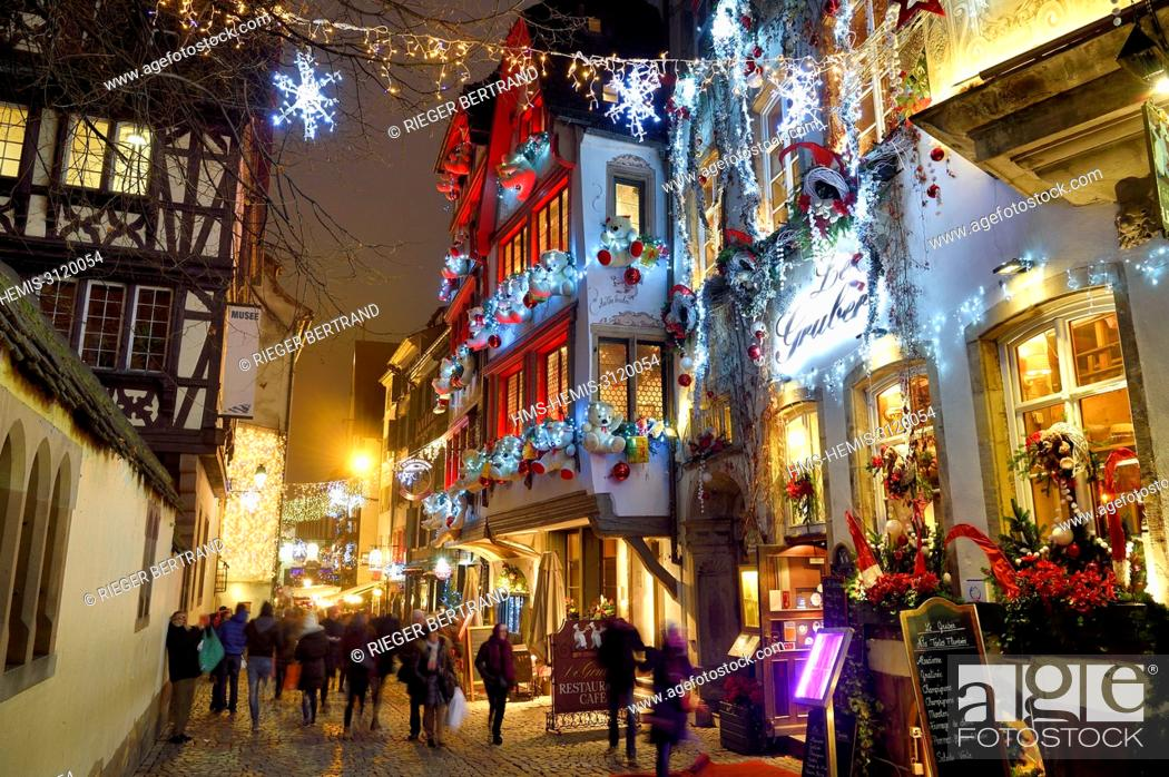 Stock Photo: France, Bas Rhin, Strasbourg, old town listed as World Heritage by UNESCO, Winstub Le Gruber decorated during the Christmas market rue du Maroquin.
