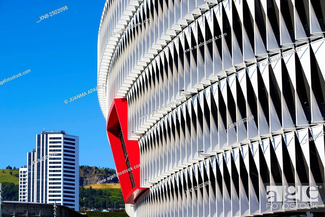Stock Photo: Exterior Detail of San Mames Stadium, Bilbao, Biscay, Bizkaia, Basque Country, Euskal Herria, Spain, Europe.