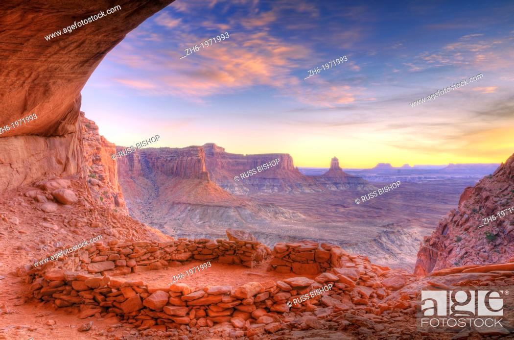 Stock Photo: Evening light on False Kiva, Island in the Sky, Canyonlands National Park, Utah USA.