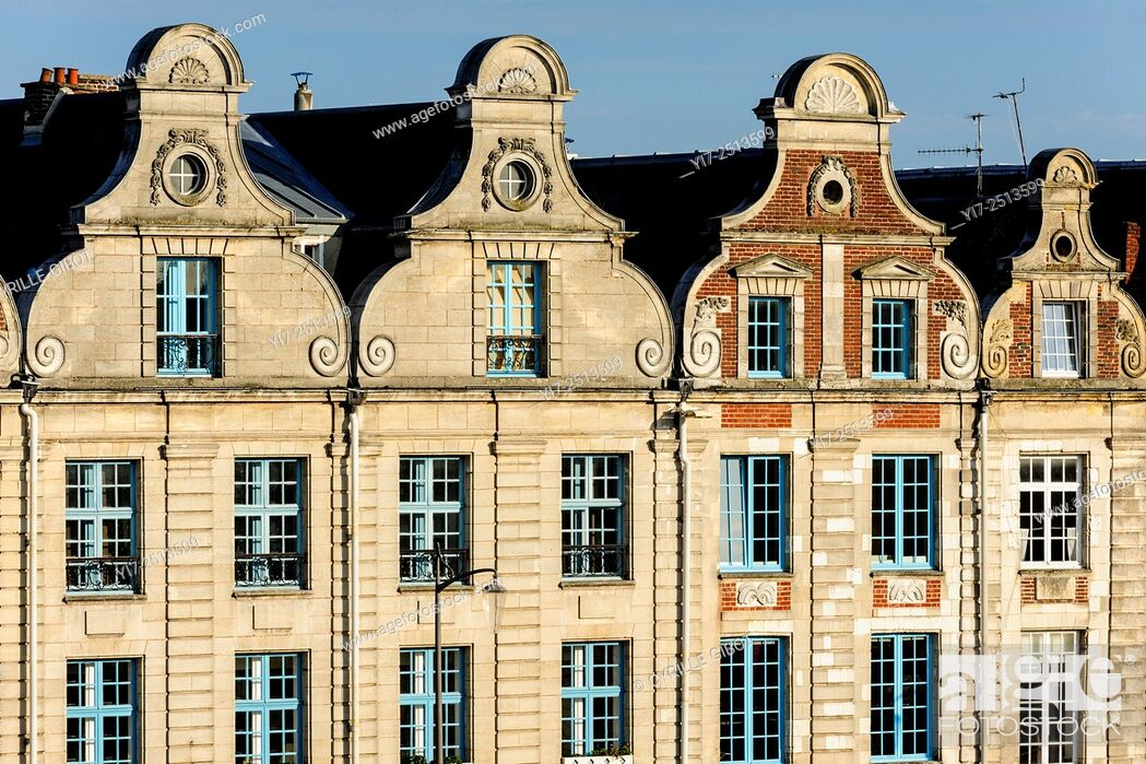 Stock Photo: France, Pas de Calais, Arras, Place des Heros, Flemish Baroque style houses.