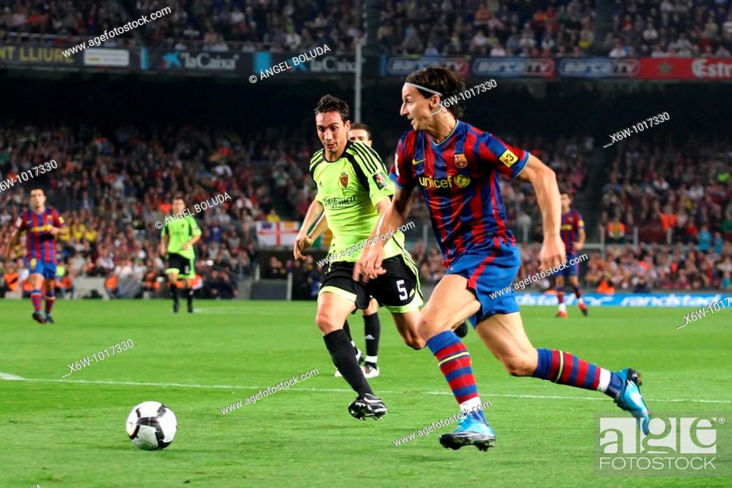 Stock Photo: Barcelona, Camp Nou Stadium, 25/10/2009, Spanish League, FC Barcelona vs. Real Zaragoza, Zlatan Ibrahimovic.