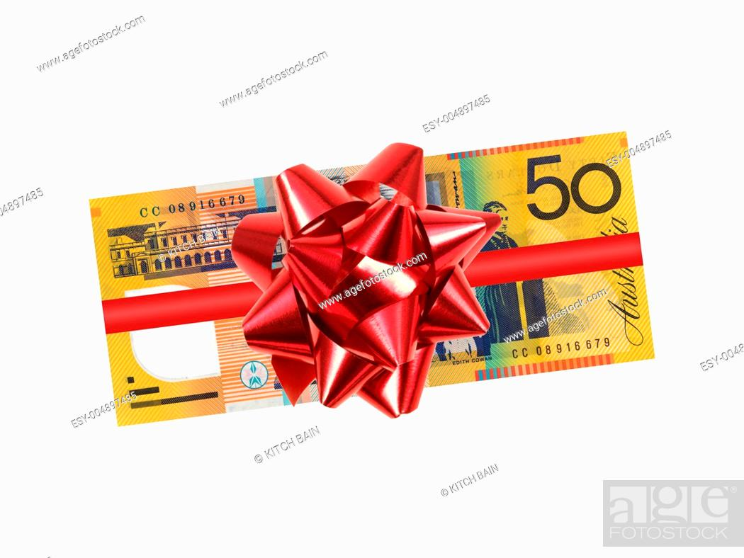 Stock Photo: Australian fifty dollar note isolated against a white background.