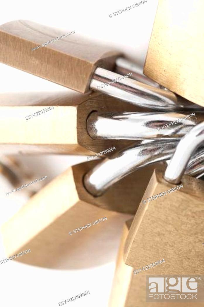 Photo de stock: Bunch Of Brass Padlocks.