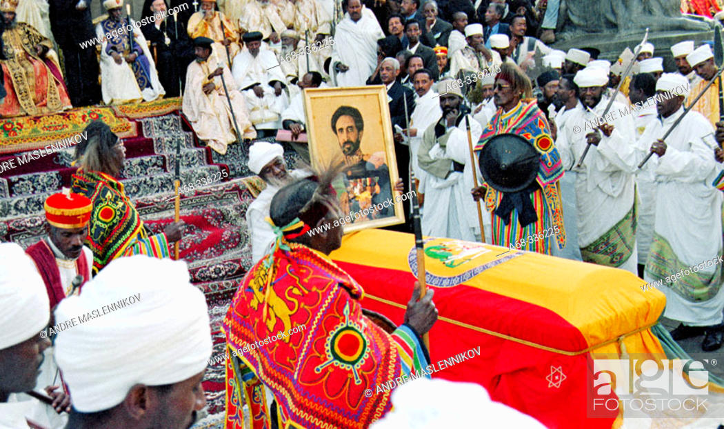 Stock Photo: The re-burial of emperor Haile Selassie, 25 years after his death: priests of the Ethiopian Orthodox Church outside Baata Maria Church.