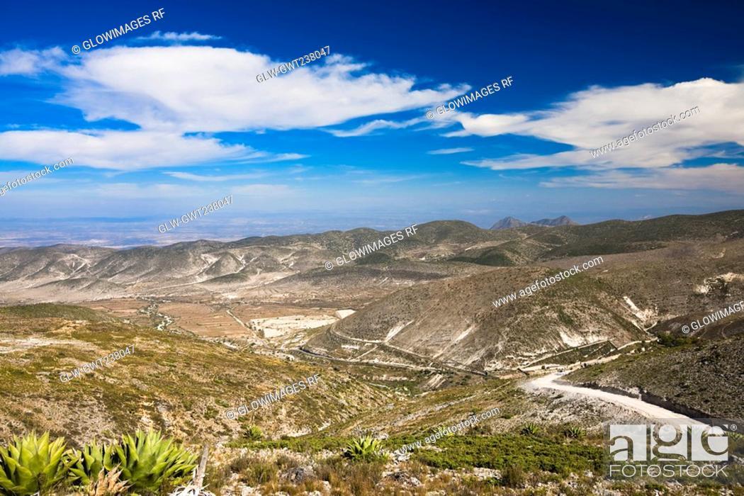 Stock Photo: Panoramic view of mines, Real De Catorce, San Luis Potosi, Mexico.