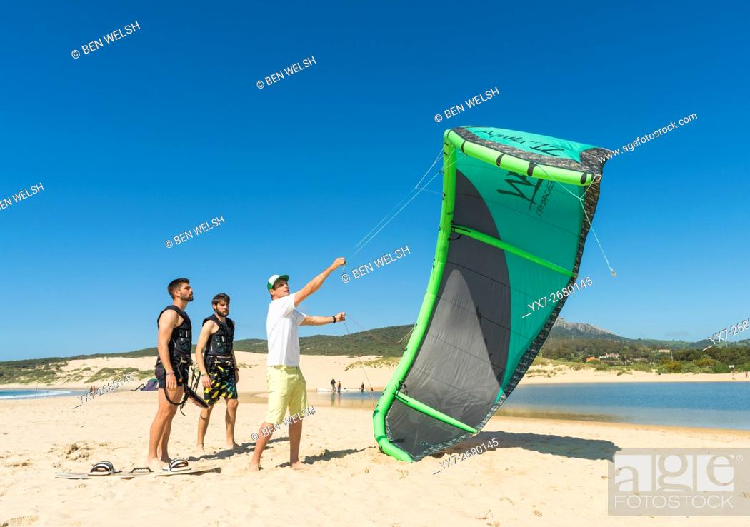 Stock Photo: Kitesurfing Instructor. Tarifa, Costa de la Luz, Cadiz, Andalusia, Spain, Southern Europe.