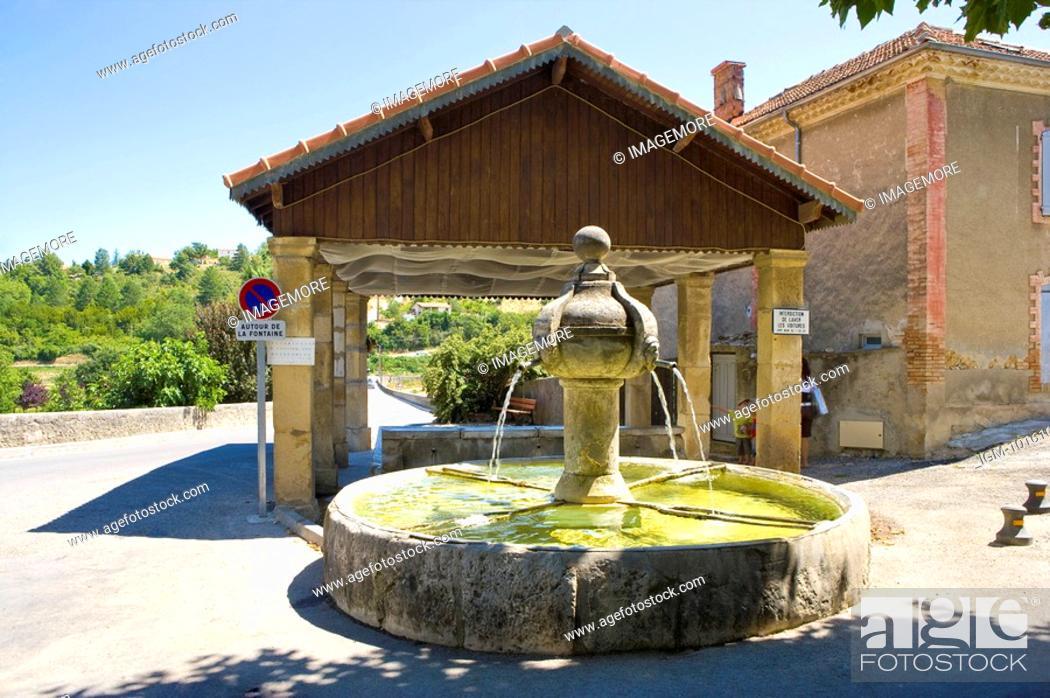 Stock Photo: Fountain in Plateau De Valensole, Provence-Alpes-Cote d'Azur, France.