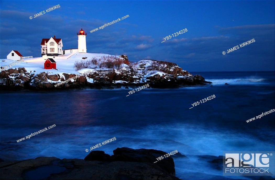 Stock Photo: Nubble Lighthouse, York, Maine.