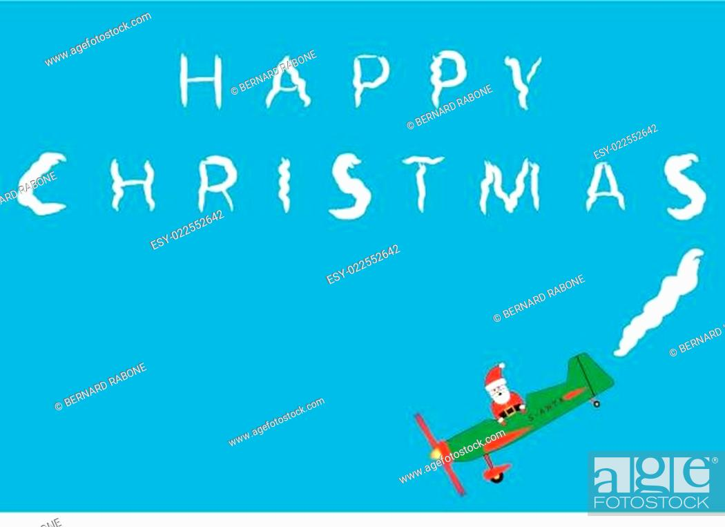 Stock Vector: Santa Claus Sky Writing.