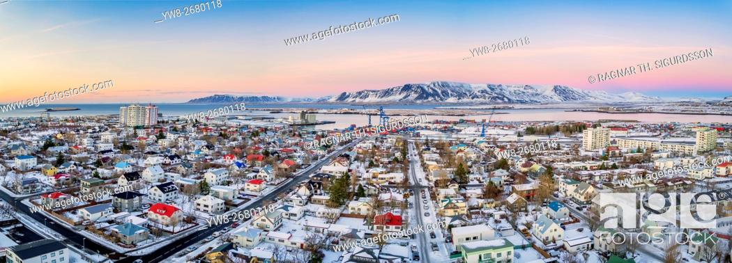 Stock Photo: Top view of homes, and roads in the winter, Reykjavik, Iceland. This image is shot with a drone.