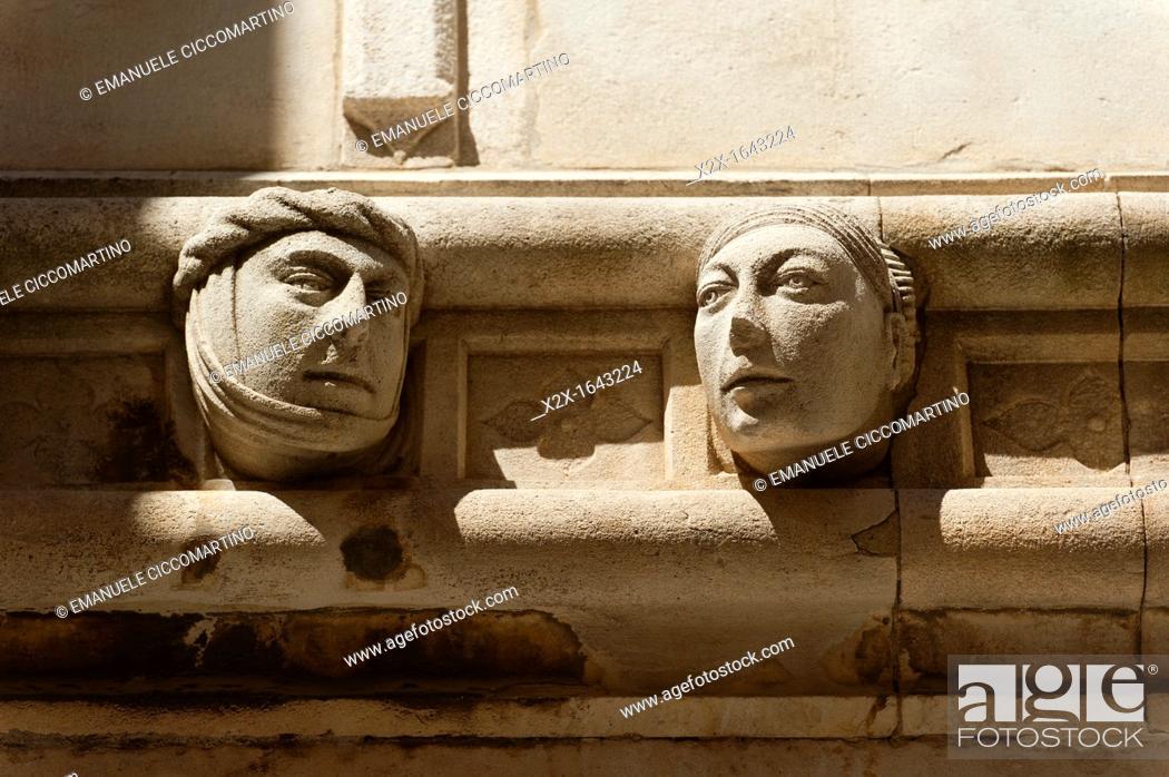 Stock Photo: High relief of face, 'Katedrala Sv  Jakova' St  James Cathedral, town of Sibenik, Dalmatia region, Croatia, Europe.