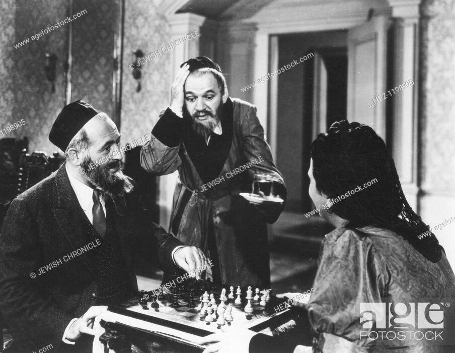 Stock Photo: Chess scene from Mirele Efros, 1938. Yiddish language film with English sub-titles, starring Berta Gersten in the title role.