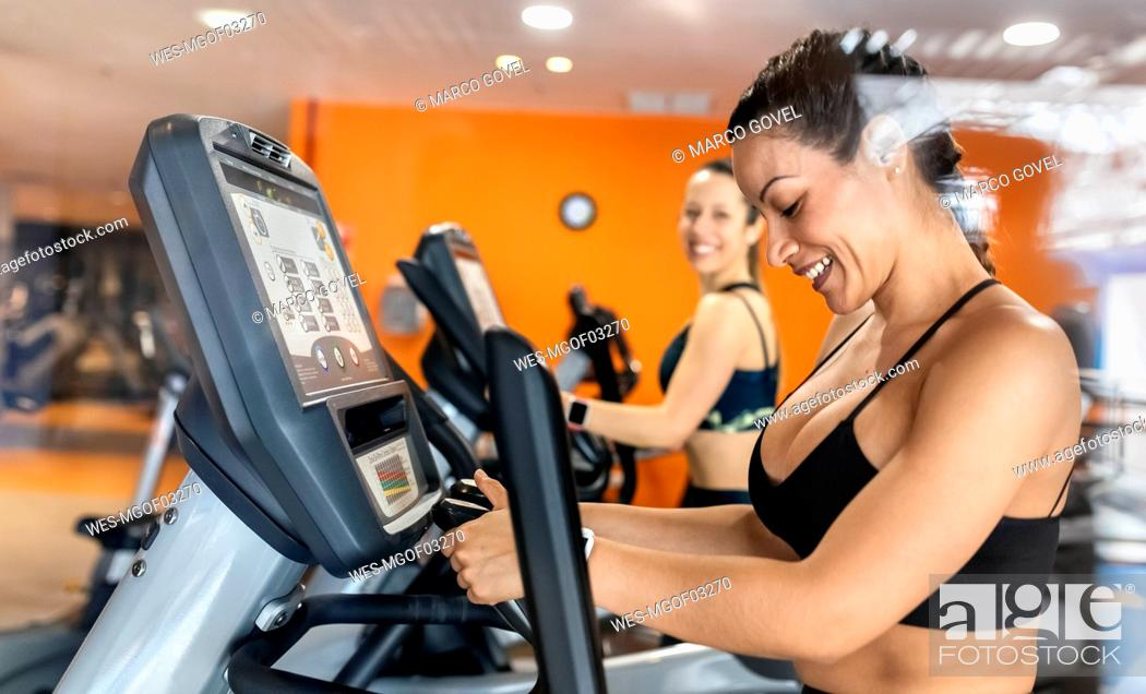 Stock Photo: Two women working out in gym using an elliptical trainer.
