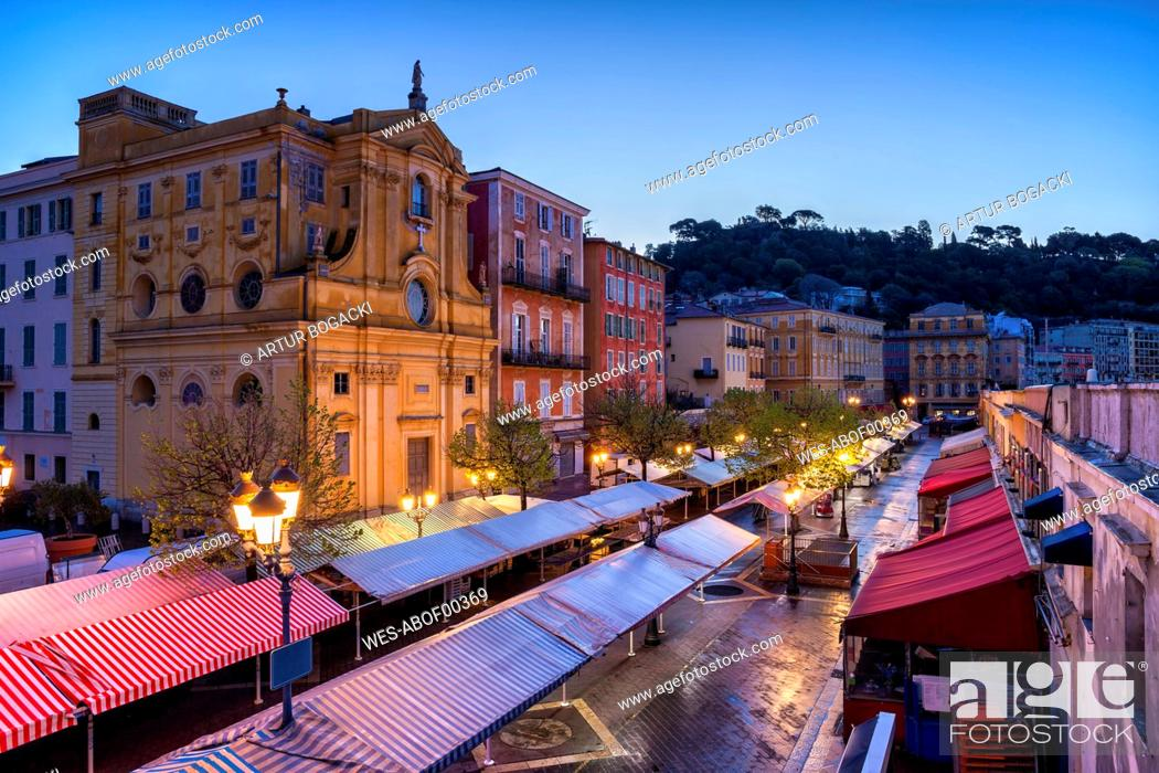 Stock Photo: France, Provence-Alpes-Cote d'Azur, Nice, Old town, Cours Saleya, market at dawn.