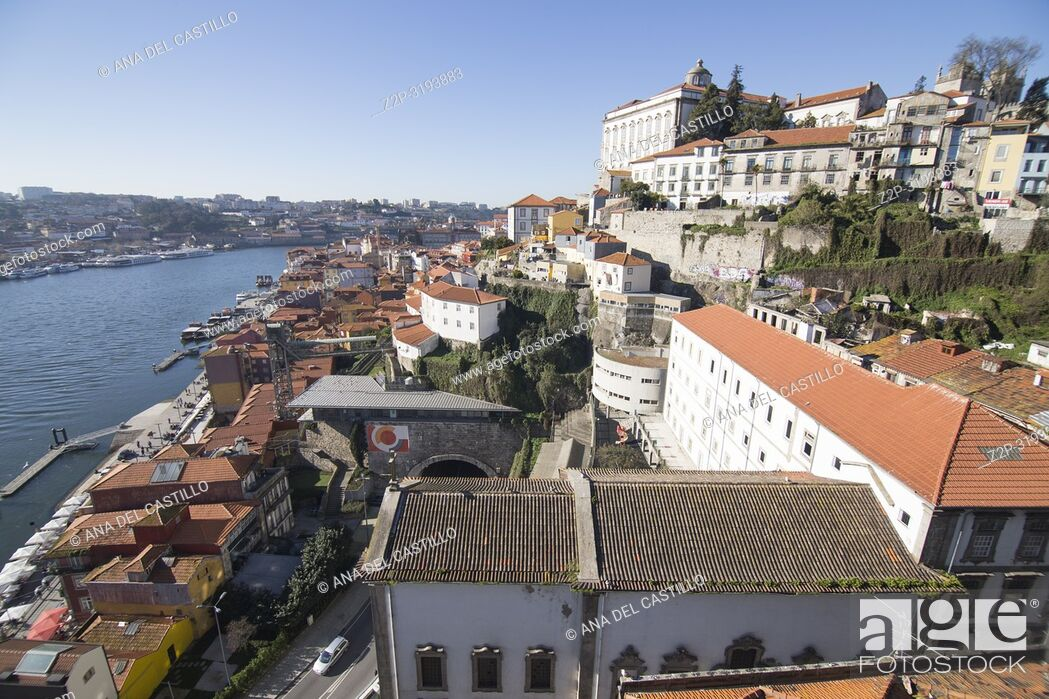 Stock Photo: Aerial view of the old town in Oporto from Dom Luis the first bridge, Portugal.