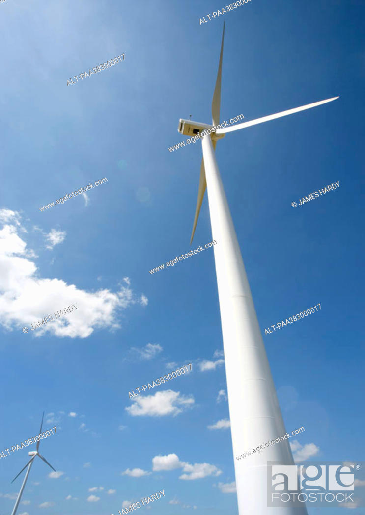 Stock Photo: Wind turbines, low angle view.