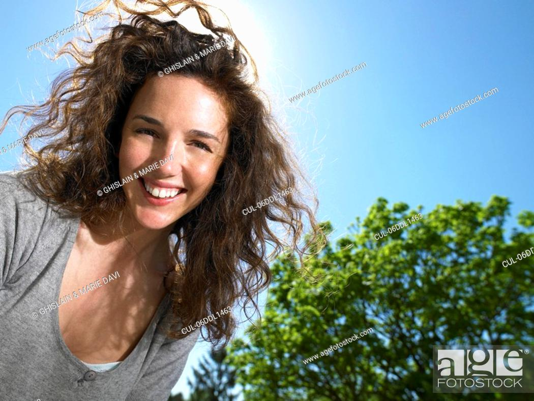 Stock Photo: Woman enjoying the sun.