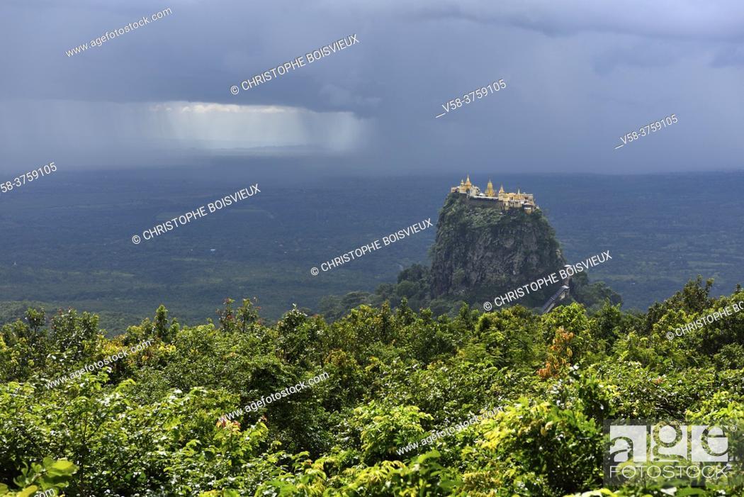 Stock Photo: Myanmar, Mandalay region, Monsoon rain on Mount Popa.