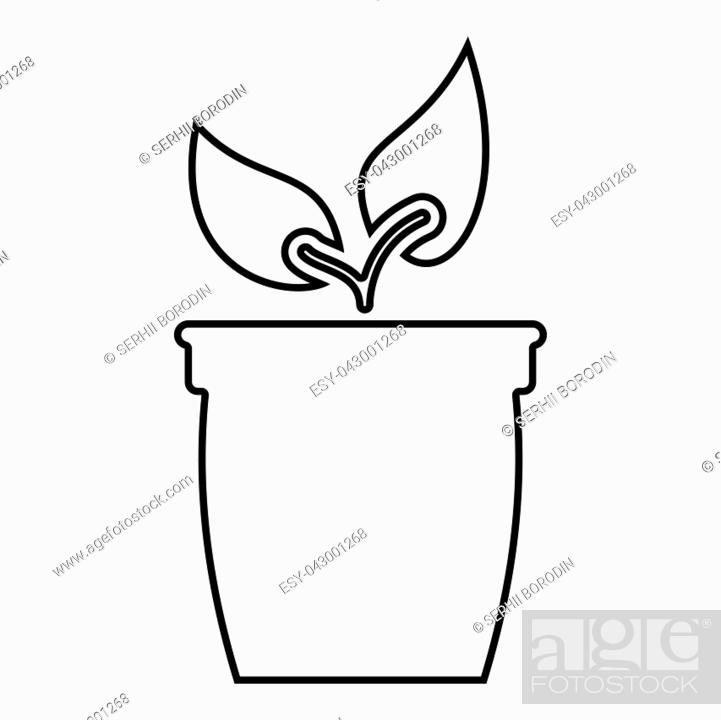 Stock Vector: Flowerpot or pot with plant icon black color vector illustration flat style outline.