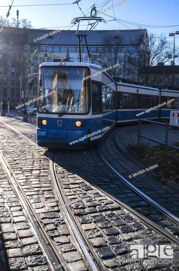 Stock Photo: Tram, Munich, Bavaria, Germany.