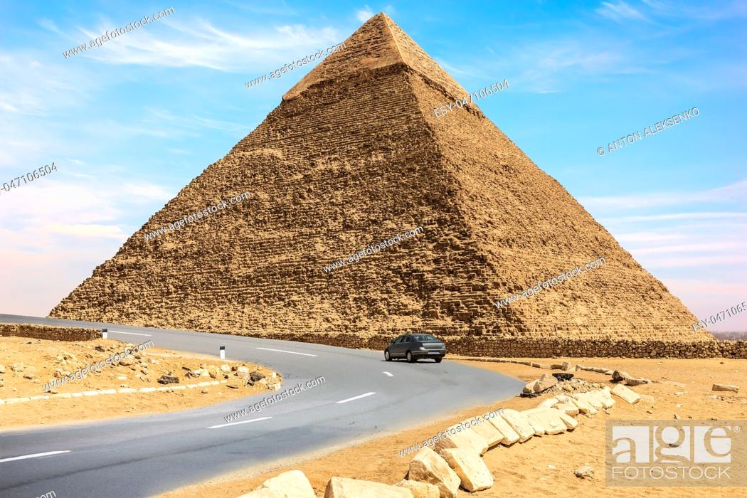 Stock Photo: The Pyramid of Chephren and a car road nearby, Giza, Egypt.