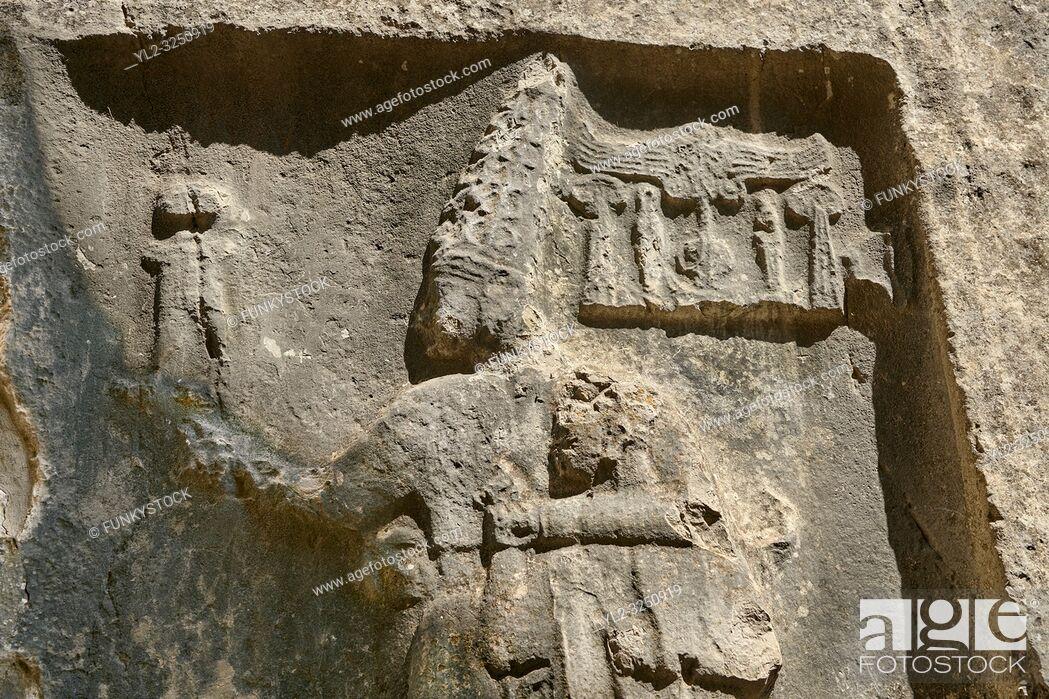 Stock Photo: Sculpture of god Sharruma and King Tudhaliya from the 13th century BC Hittite religious rock carvings of Yazilikaya Hittite rock sanctuary, chamber B, Hattusa.