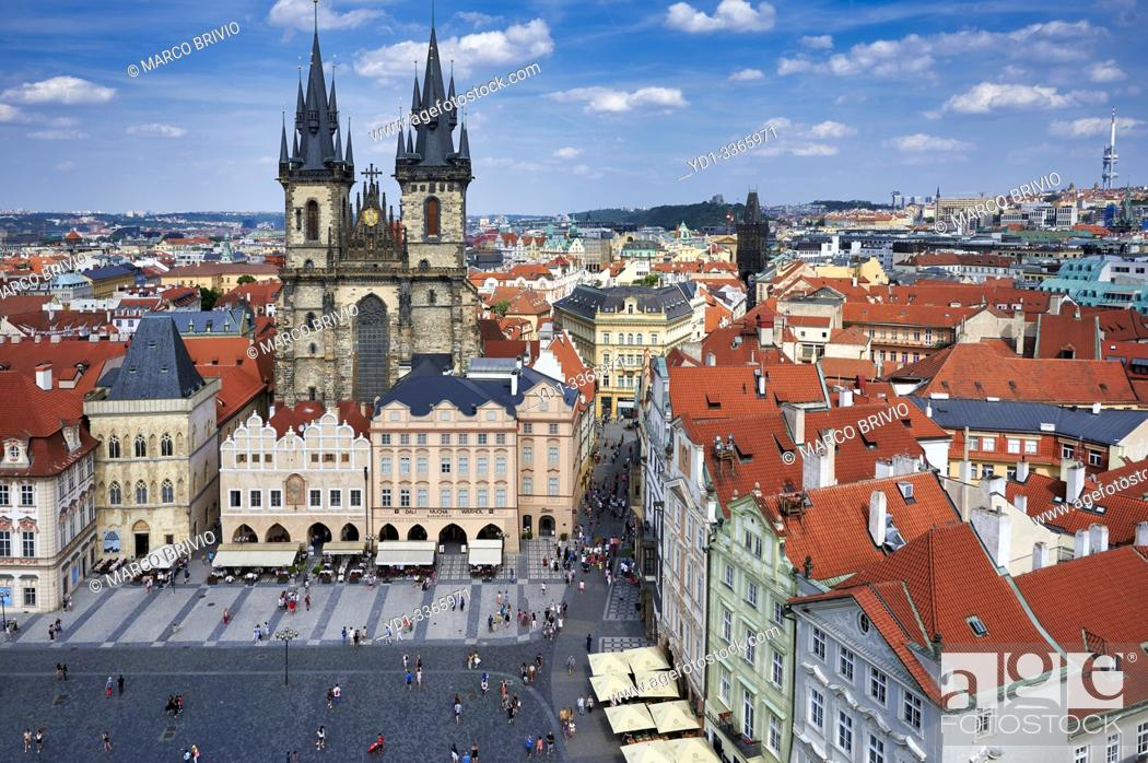 Stock Photo: Prague Czech Republic. Aerial view of old town. The Gothic Church of Our Lady before Tyn in Old Town Square.