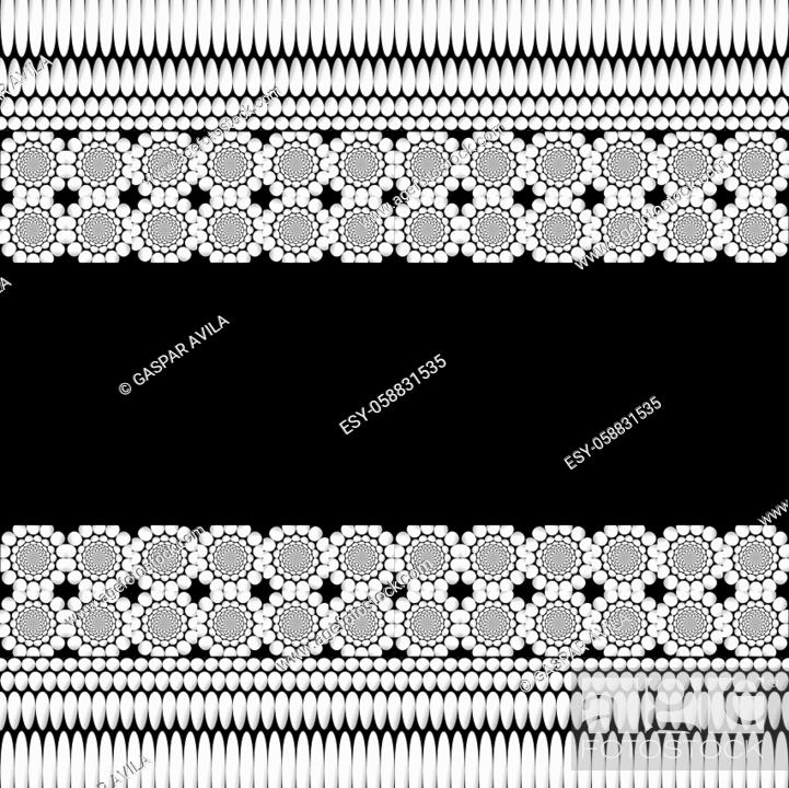 Vecteur de stock: Monochromatic geometric floral ornaments pattern on a black background.