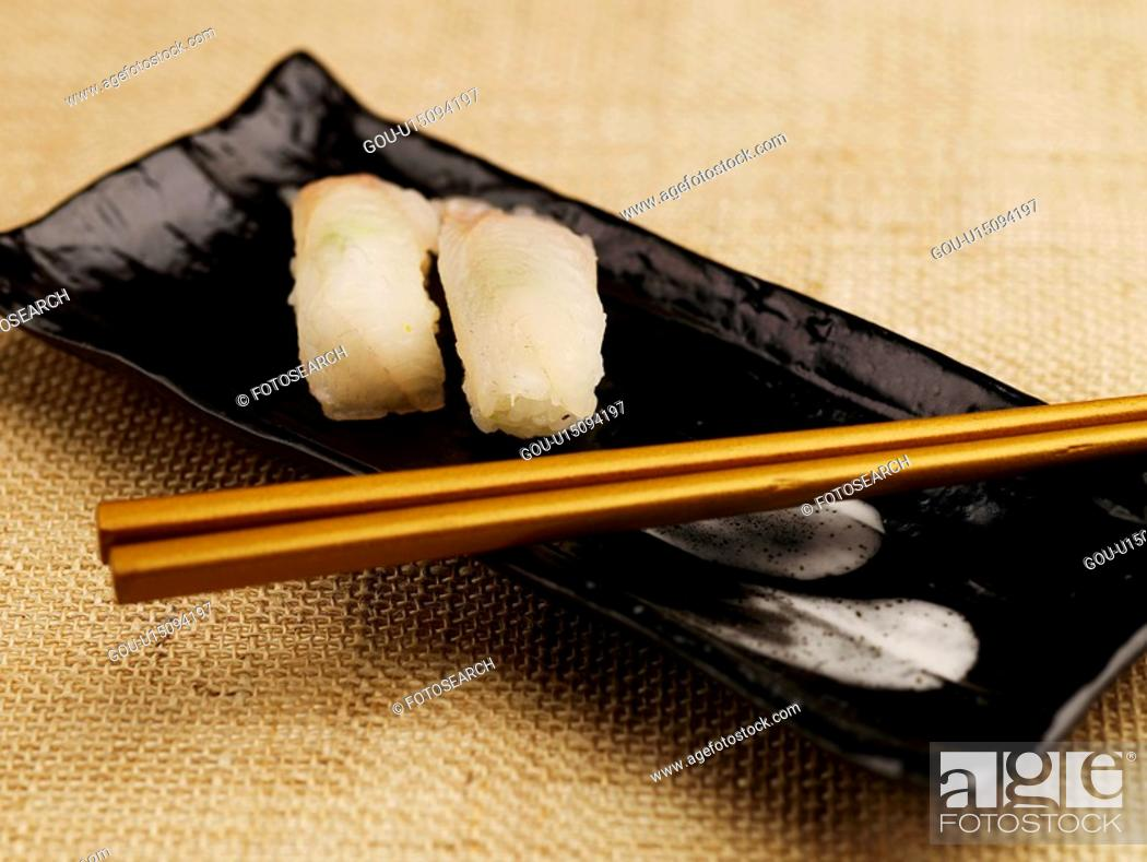 Stock Photo: chopsticks, plate, chosticks, decoration, food styling, spotty belly greenling, sushi plate.