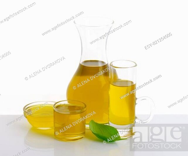 Stock Photo: Olive oil in glass vessels.