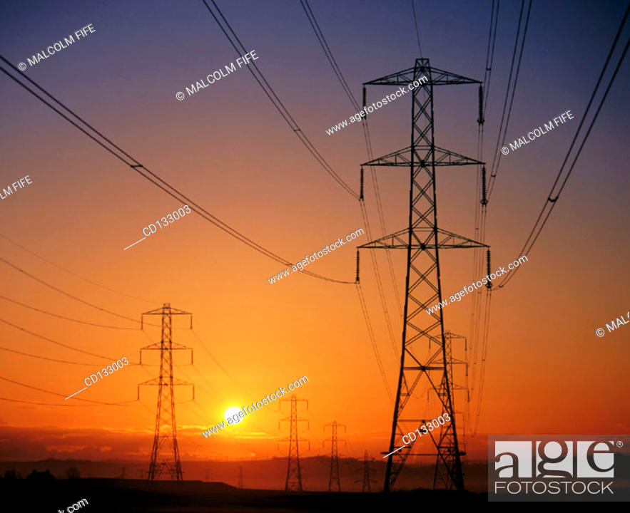 Stock Photo: Electricity pylons. Scotland.