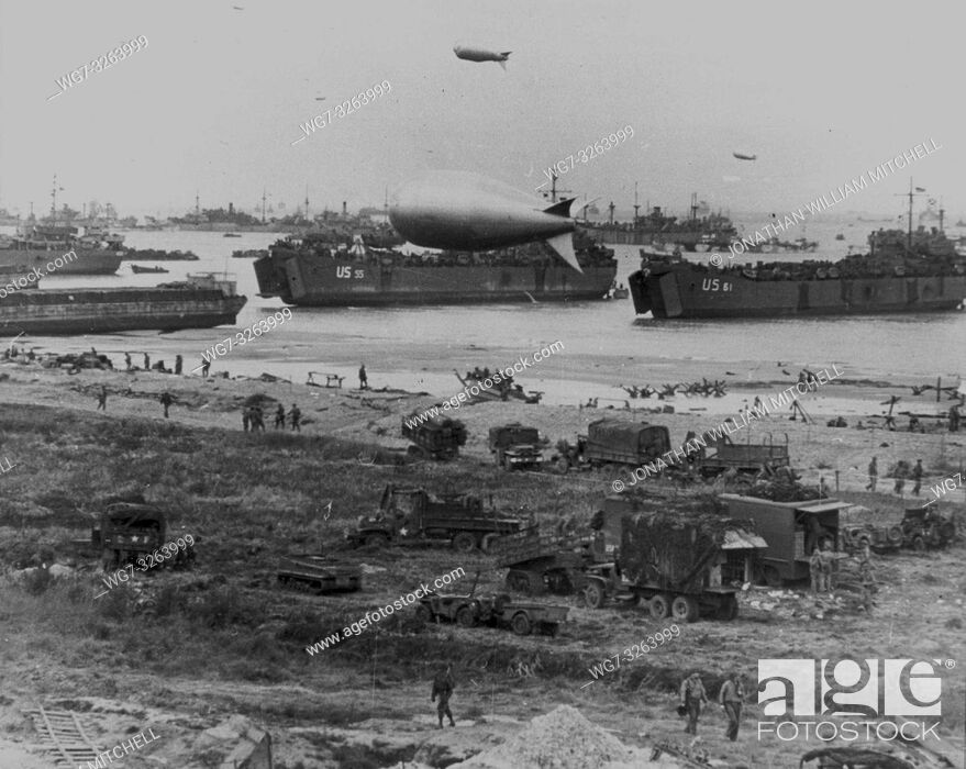 Stock Photo: FRANCE Normandy -- 06 Jun 1944 -- American supply ships unload armour, supplies and troops onto the Normandy beachhead after the Allied invasion in the early.