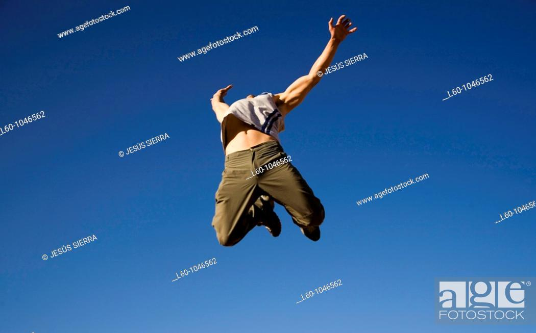 Stock Photo: Man jumping.
