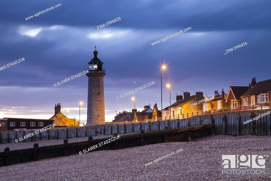 Stock Photo: Evening at Kingston Lighthouse in Shoreham-by-Sea, West Sussex, England.