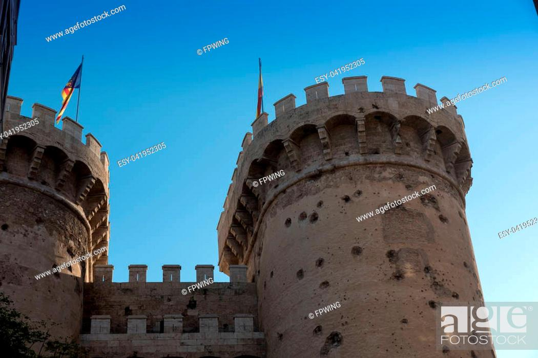 Stock Photo: Castle tower of Valencia.