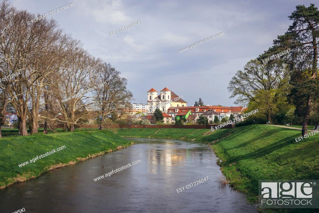 Stock Photo: Monastery and Church of Guardian Angel in Veseli nad Moravou town in the South Moravian Region of the Czech Republic.