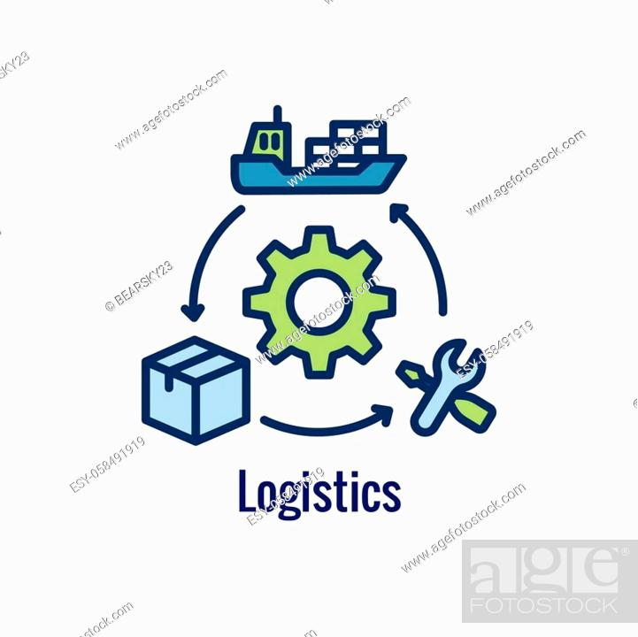 Stock Vector: Logistics icon showing movement from 1 place to the next.