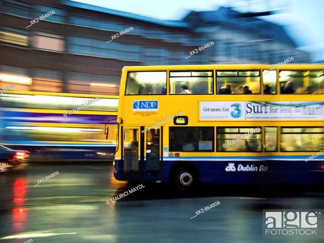 Stock Photo: sweep of a night bus, Dublin, Ireland.