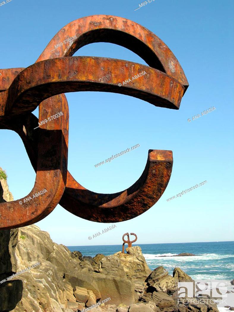Stock Photo: 'Peine del Viento' (Wind's Comb), Eduardo Chillida sculpture. Donostia, San Sebastian. Euskadi. Spain.
