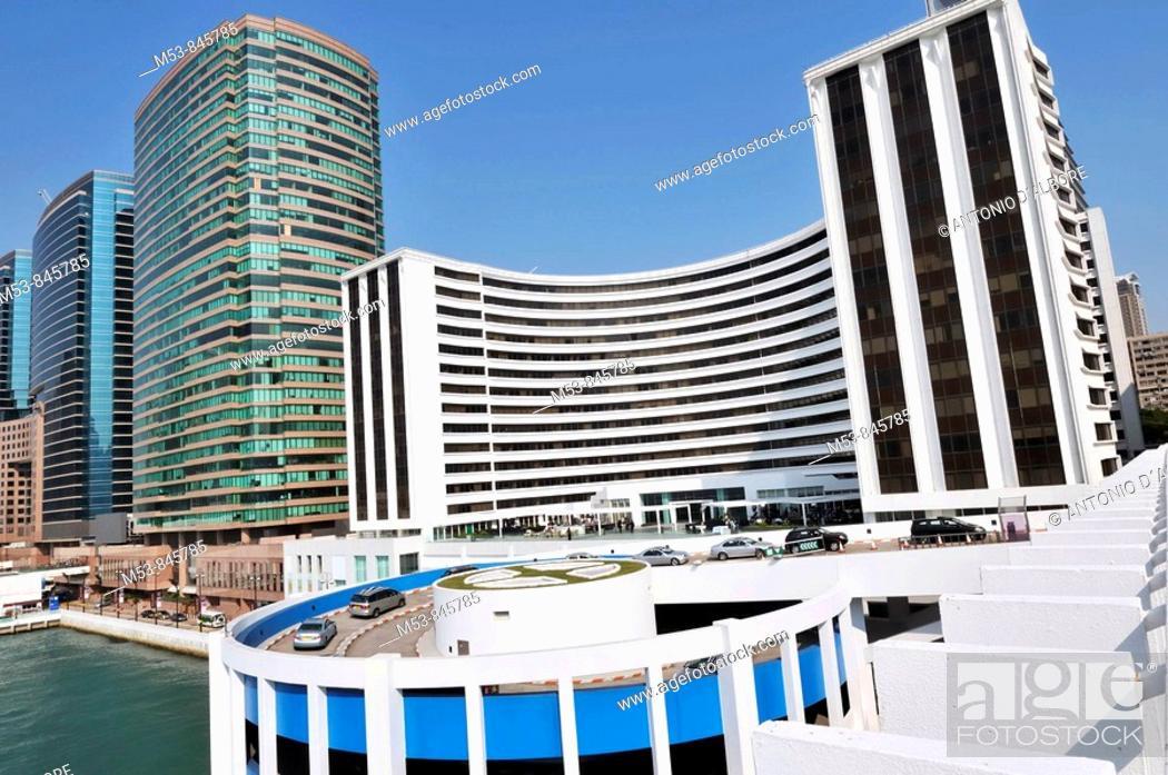 Stock Photo: hotel and high rise buildings in tsim sha tsui hong kong china asia.