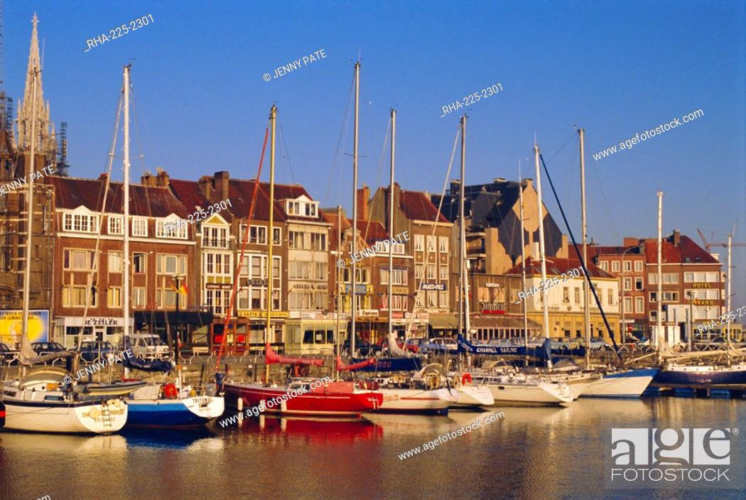 Stock Photo: Boats and harbour, Ostend, Belgium.