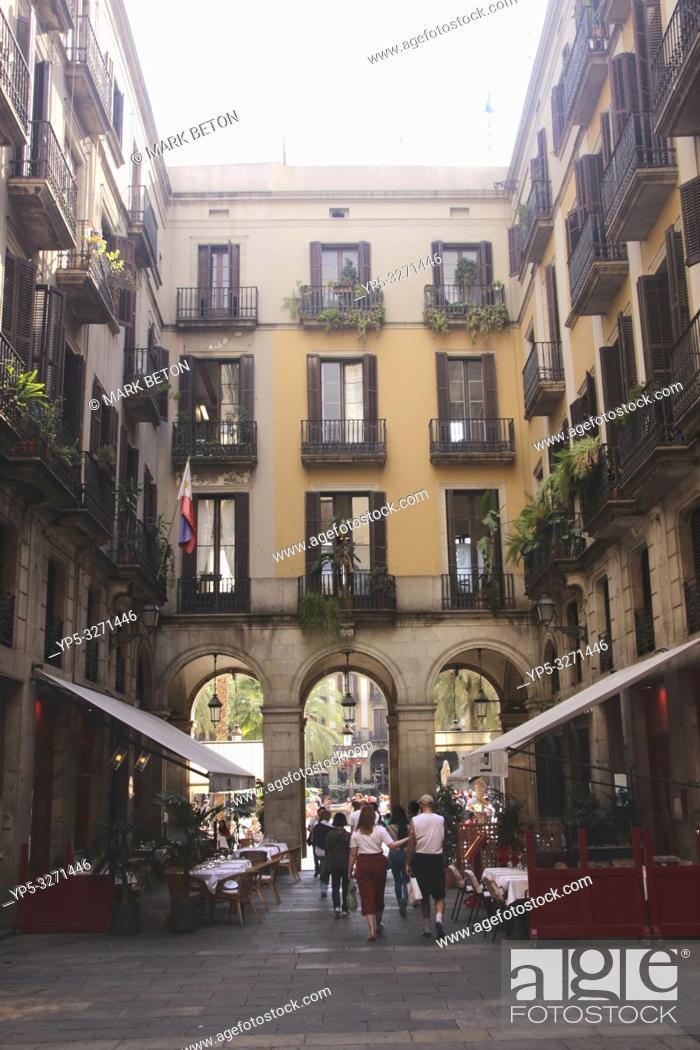 Stock Photo: Passatge Madoz and Restaurant La Crema Canela Barcelona Spain.