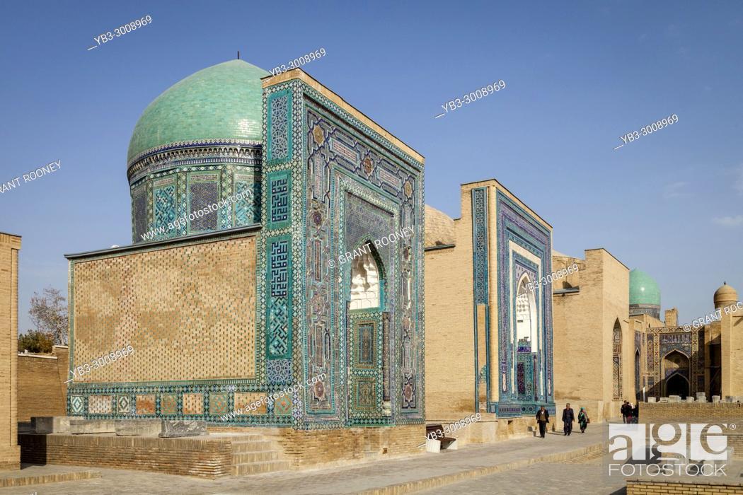 Stock Photo: The Avenue Of Mausoleums, The Shah-i-Zinda Mausoleum Complex, Samarkand, Uzbekistan.