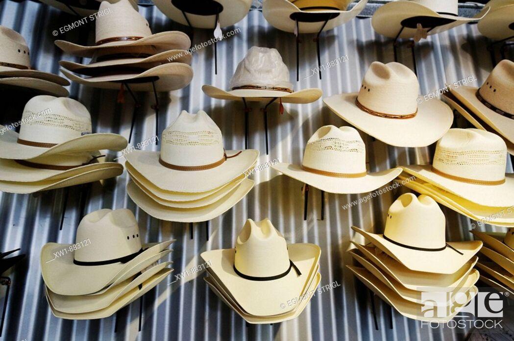 Stock Photo: shop for cowboy hats, Longreach, Queensland Outback, Australia.