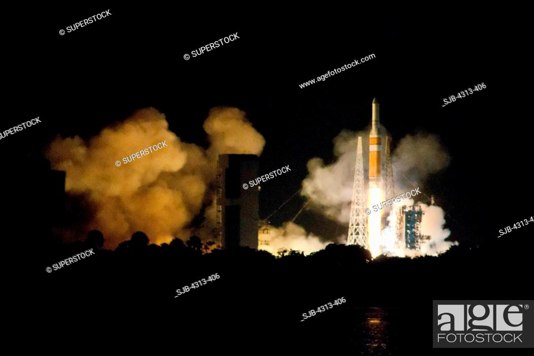 Stock Photo: A Delta IV-Heavy rocket roars off Pad 37B at Cape Canaveral with a torrent of fire. Onboard is the NRO L-32 spy satellite.