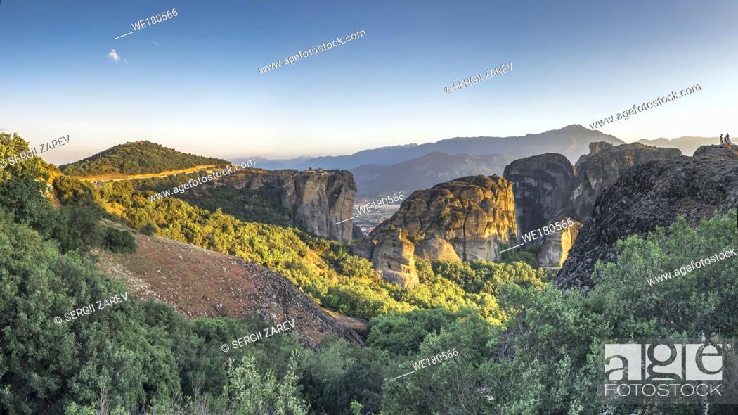 Stock Photo: Panoramic sunset view of the Meteora Monasteries near Kalambaka town in Greece.