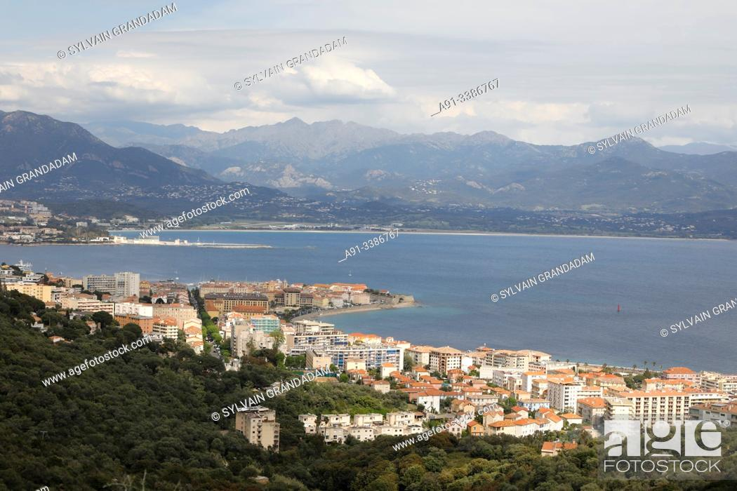 Stock Photo: France, Corsica, city of Ajaccio and golf, overview.