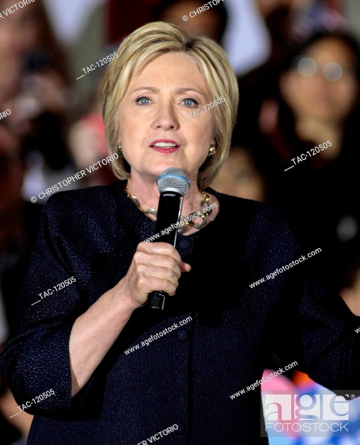Stock Photo: SAN FRANCISCO, CA- MAY 26: Democratic Presidential Candidate Hillary Clinton speaks at a campaign rally at The Hibernia Bank on May 26, 2016 in San Francisco.