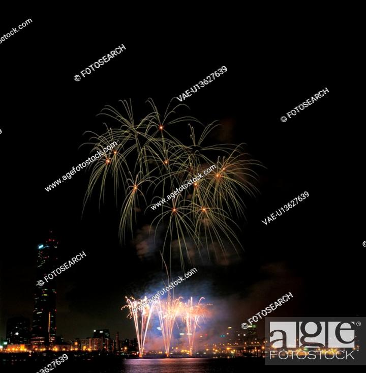 Stock Photo: city, fireworks, landscape, scenery, river, city scenery, night.