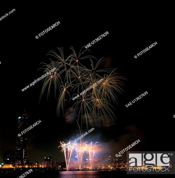 Stock Photo: city, fireworks, landscape, scenery, river, city scenery, night.